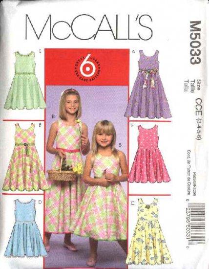 McCall's Sewing Pattern 5033 Girls Size 3-6 Easy Sleeveless Sundress Summer Dress
