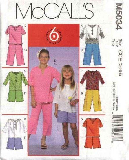 McCall's Sewing Pattern 5034 Girls Size 7-12 Easy Tunic Tops Kurta Shorts Cropped Capri Pants