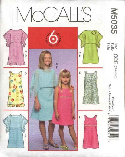 McCall's Sewing Pattern 5035 Girls Size 3-6 Easy Ponchos Lined Sleeveless Dresses