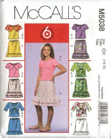 McCall's Sewing Pattern 5038 Girls Size 7-10 Easy Shrug Bolero Tank Top Ruffled Skirt
