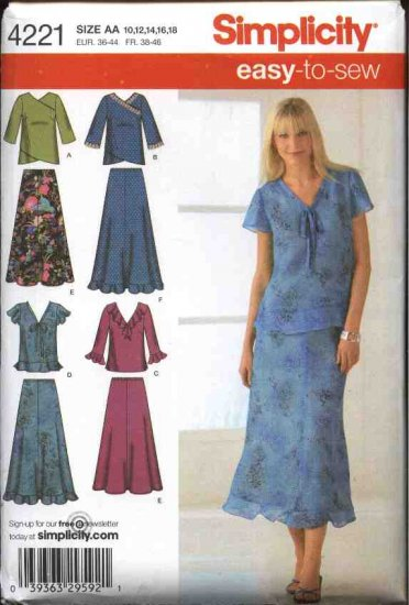 Simplicity Sewing Pattern 4221 Womens Plus Size 20W-28W Easy Pullover Tops  Skirts