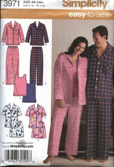 """Simplicity Sewing Pattern 3971 Mens Womens Chest Size 52-62"""" Easy Pajamas Pants Tank Top"""