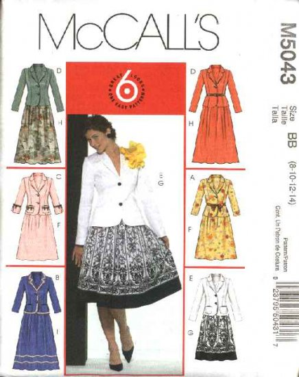 McCall's Sewing Pattern 5043 Misses Size 8-14 Easy  Unlined Jackets Dindl Gathered Skirts Suits