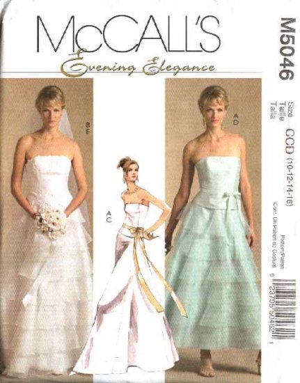McCall's Sewing Pattern 5046 Misses Size 10-16 Two-Piece Wedding Gown Bridal Strapless Top Skirt