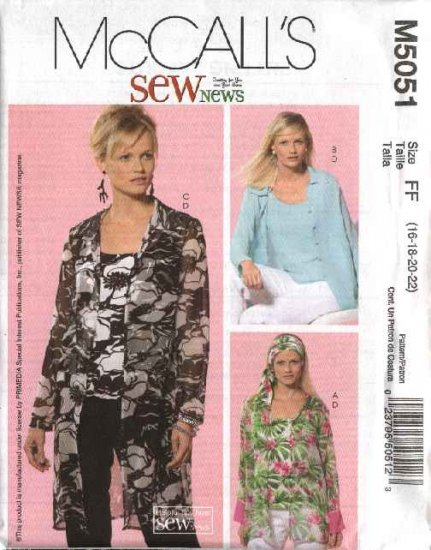 McCall's Sewing Pattern 5051 Misses Size 8-14 SewNews Button Front Shirt Top Scarf Twinset