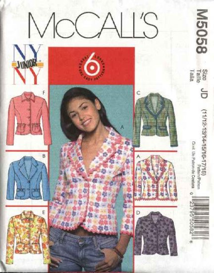 McCall's Sewing Pattern 5058 Junior Size 3/4-9/10 NYNY Easy Button Front Long Sleeve Jackets