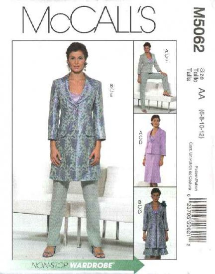 McCall's Sewing Pattern 5062 Misses Size 6-12 Wardrobe Lined Jacket Camisole Top Skirt Pants