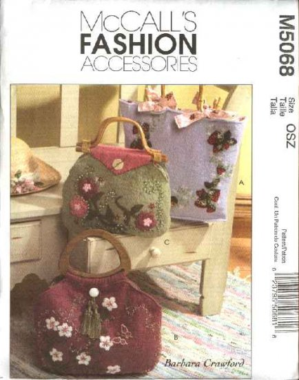 McCall's Sewing Pattern 5068 Three Lined Felt Handbags With Appliqués Embroidery Embelliishment