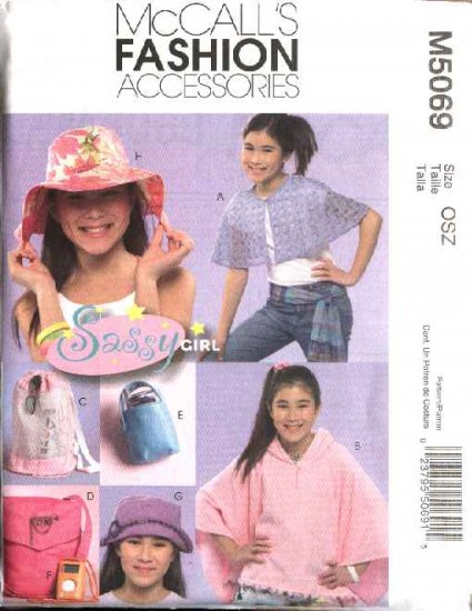 McCall's Sewing Pattern 5069 Girls Size 7-16 Poncho Capelet Hat Totebag MP3 & Cell Phone Cases