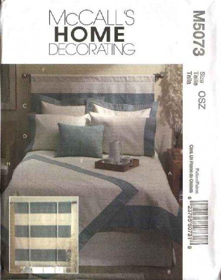 McCall's Sewing Pattern 5073 Bedroom Essentials Duvet Cover Bedskirt Pillow Sham Headboard Shade