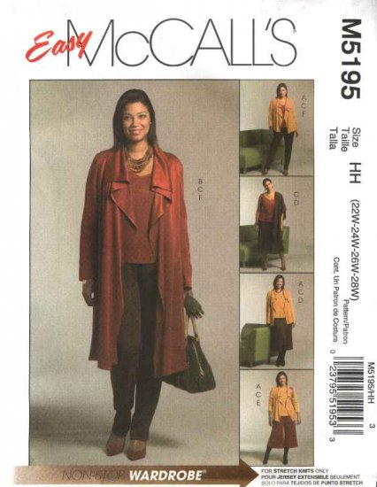 McCall�s Sewing Pattern 5195 Misses Size 16-22 Easy Wardrobe Jacket Top Skirt Gaucho Pants
