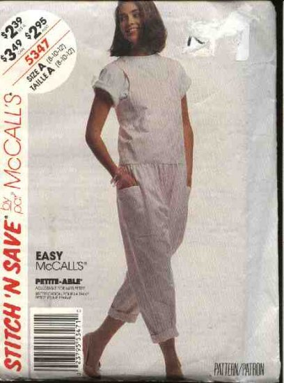 McCall's Sewing Pattern 5347 Misses Size 8-12 Easy Jumpsuit Pullover Short Sleeve Top