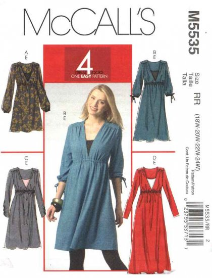 McCall�s Sewing Pattern 5535Womans Plus Size 18W-24W Easy Pullover Dresses Camisole
