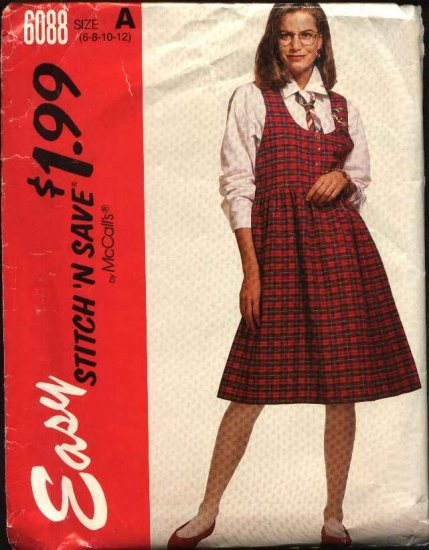 McCall's Sewing Pattern 6088 Misses Size 6-12 Easy Pullover Jumper Button Front Long Sleeve Shirt