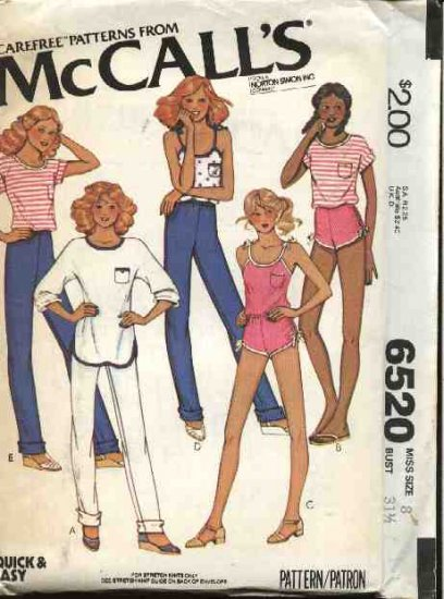 Retro McCall's Sewing Pattern 6520 Misses Size 8 Easy Wardrobe Knit Top Pants Shorts