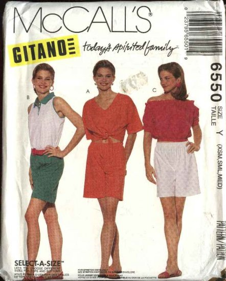 McCall's Sewing Pattern 6550 M6550 Misses Size 4-14 Gitano Knit Pullover Tops Shorts