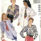 McCall's Sewing Pattern 6693 Misses Size 4-14 3-Hour Button Front Long Sleeve Shirts Tie
