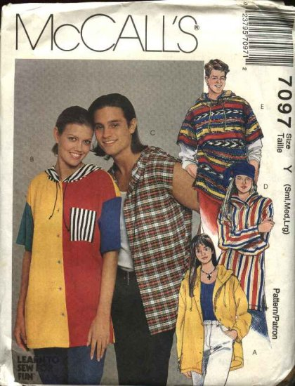 """McCall's Sewing Pattern 7097 Men's Boys Misses Chest Size 31 1/2-40"""" Hooded Tops Hoodies"""