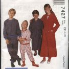 McCall's Sewing Pattern 7427 M7427 Boys Girls Size 7-10 Wrap Robes Pajamas Pullover Top Pants