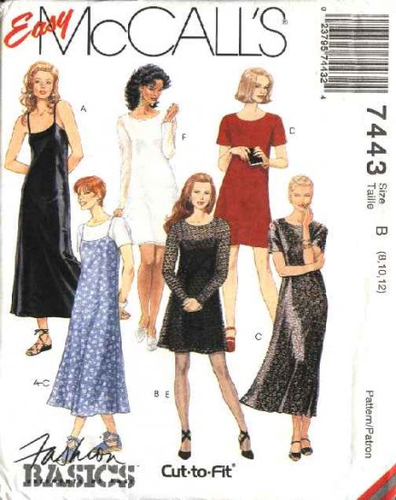 McCall's Sewing Pattern 7443 Misses Size 12-16 Easy Classic Long Short Dress Slip Dress