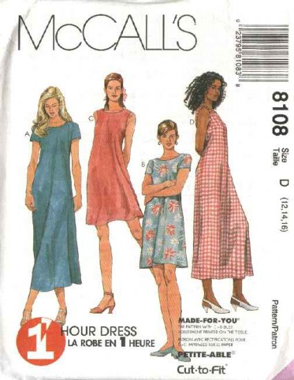 McCall's Sewing Pattern 8108 Misses Size 12-16 1-Hour Pullover Sleeveless Short Sleeve Dress