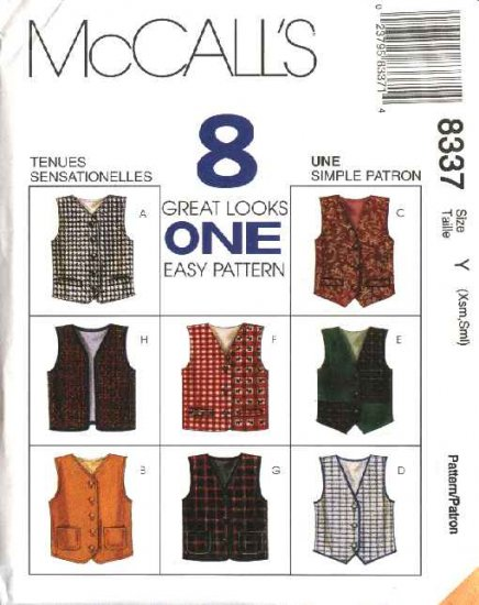 McCall's Sewing Pattern 8337 M8337 Boys Girls Size 2-6  Easy Lined Button Front Vests