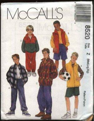 McCall's Sewing Pattern 8520 Boys Size 7-16 Wardrobe Zipper Front Jacket Vest Pants Shorts Top