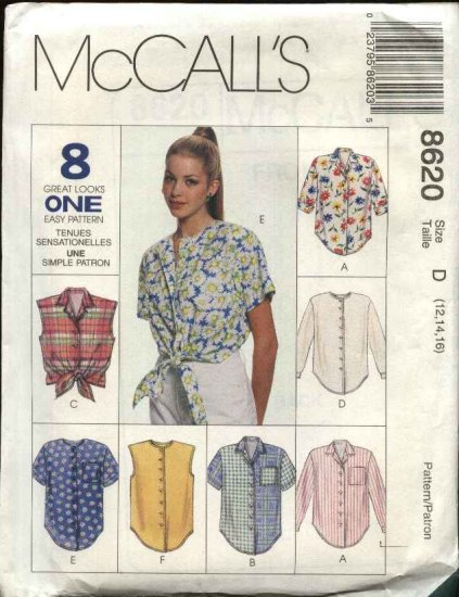McCall's Sewing Pattern 8620 Misses Size 12-16 Easy Classic Button Front Shirt Sleeve Variations