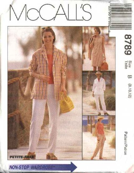 McCall's Sewing Pattern 8789 Misses Size 8-12 Wardrobe Shirt-Jacket Sleeveless Dress Top Pants