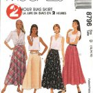 McCall's Sewing Pattern 8796 Misses Size 4-8 2-Hour A-line Bias Flared Skirts