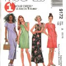 McCall's Sewing Pattern 9172 Misses Size 10-14 1-Hour Short Long Straight Dress