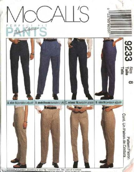 McCall's Sewing Pattern 9233 Misses Size 8 Palmer Pletsch Perfect Fit Pants Trousers Jeans