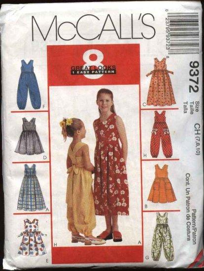 McCall's Sewing Pattern 9372 Girls Size 4-6 Sundress Sleeveless Dress  Jumpsuit