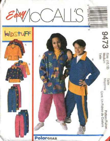 McCall's Sewing Pattern 9473 M9473 Boys Girls Size 10-12 Easy Fleece Pullover Top Long Pants