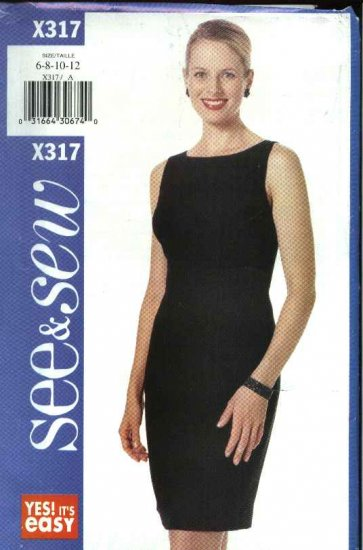 Butterick Sewing Pattern X317 Misses Size 14-18 Easy Sleeveless Straight Sheath Dress