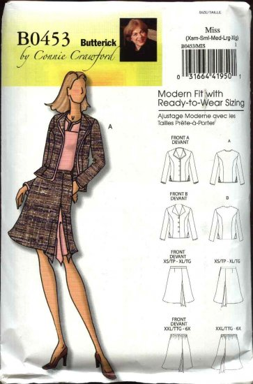 Butterick Sewing Pattern 0453 5107 Misses Size 3-16 Easy Button Front Long Sleeve Jacket Skirt