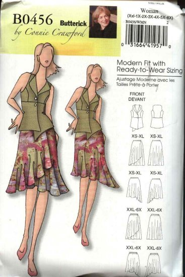 Butterick Sewing Pattern 0456 5052 Misses Size 3-16 Easy Button Front Vest Top Flared Skirt