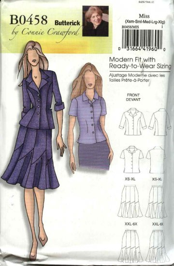 Butterick Sewing Pattern 5047 B5047 0458 Misses Size 3-16 Easy Jacket Shirt Seamed Skirt