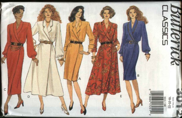 Butterick Sewing Pattern 3012 Misses Size 18-22 Easy Classic Wrap Front Straight Full Skirt Dresses