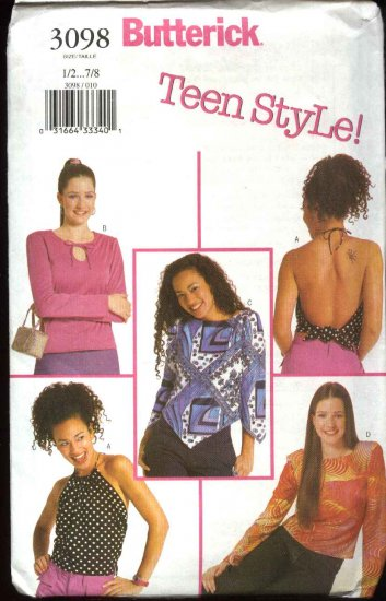 Butterick Sewing Pattern 3098 Junior Sizes 9/10-13/14 Easy Teen's Knit Pullover Halter Tops