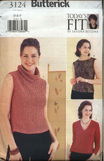 Butterick Sewing Pattern 3124 B3124 Misses Size 16-22 Today's Fit Sandra Betzina Knit Tops