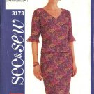 Butterick Sewing Pattern 3173 Misses Size 6-8-10 Easy Knit Top  Skirt Two-Piece Dress