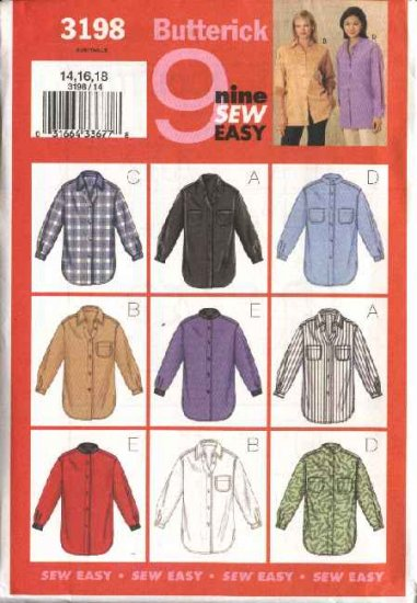 Butterick Sewing Pattern 3198 Misses Size 14-16-18 Easy Button Front Long Sleeve Shirts Blouse Top