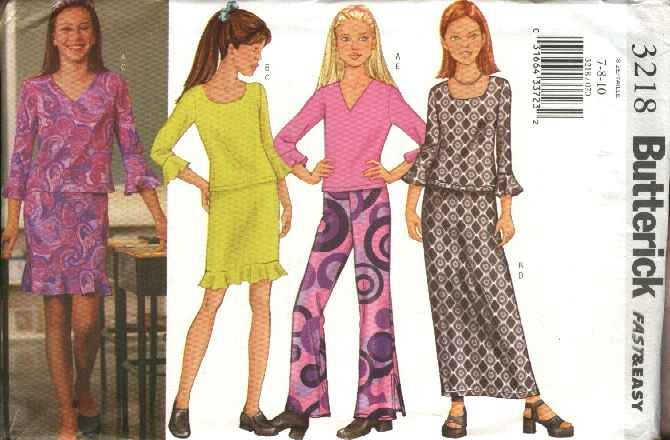 Butterick Sewing Pattern 3218 Girls Size 7-8-10 Easy Knit Pullover Tops Long Short Skirts Pants