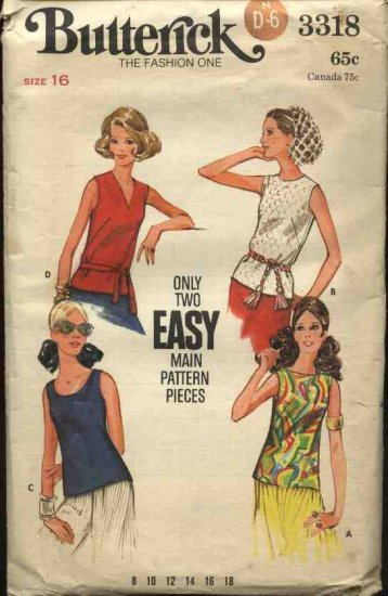 Vintage Butterick Sewing Pattern 3318 Misses Size 16 Easy Sleeveless Pullover Tops Shells