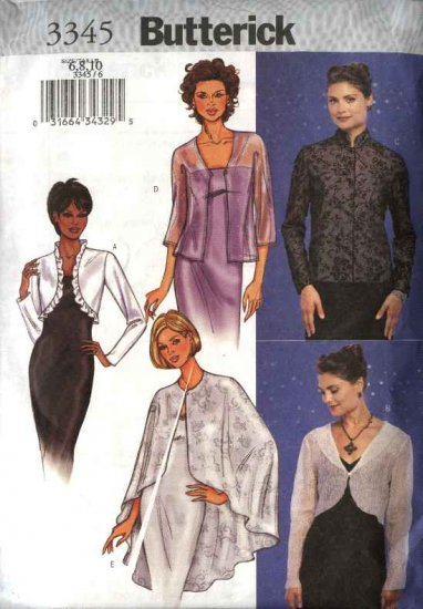 Butterick Sewing Pattern 3345 Misses Size 12-16 Easy Formal Evening Jacket Cape Shrug Bolero