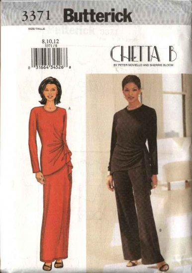 Butterick Sewing Pattern 3371 Misses Size 8-12 Easy Chetta B Formal Knit Top Long Skirt Pants