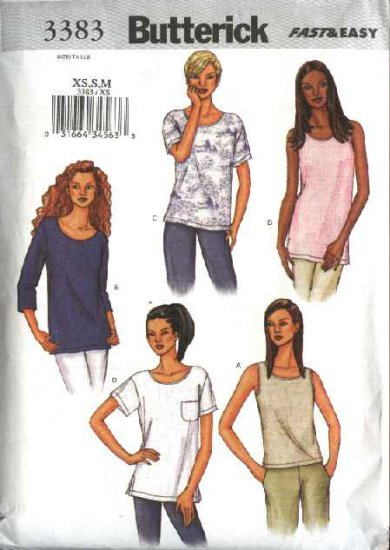 Butterick Sewing Pattern 3383 Misses Size 6-14 Easy Pullover Tops Shells Sleeve Variations