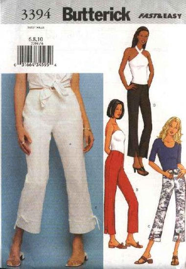 Butterick Sewing Pattern 3394 Misses Size 6-8-10 Easy Fitted Cropped Capri Pants