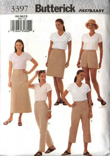 Butterick Sewing Pattern 3397 Misses Size 20-24 Easy Classic A-Line Skirt Shorts Cropped Long  Pants